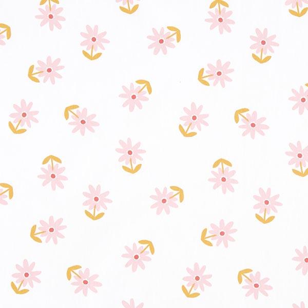 Beschichtete Baumwolle Blümchen – weiss