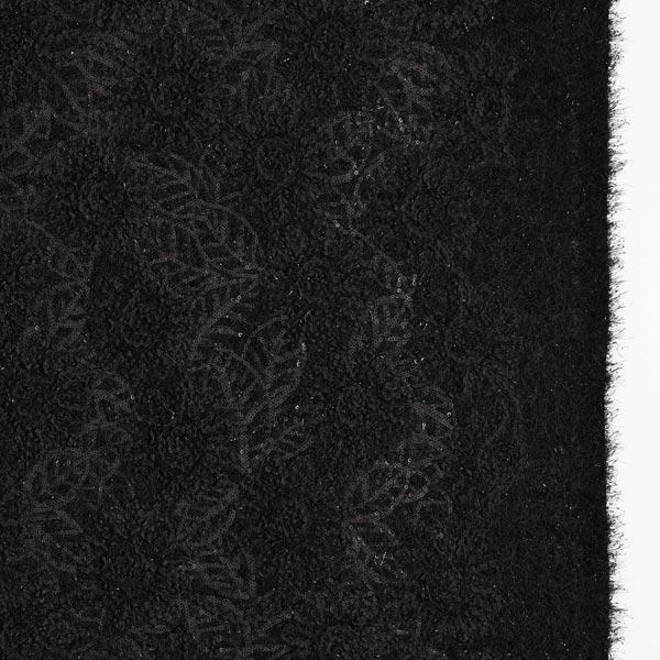 Strickstoff Paillettenstrick Luxery Blumenornamente – schwarz