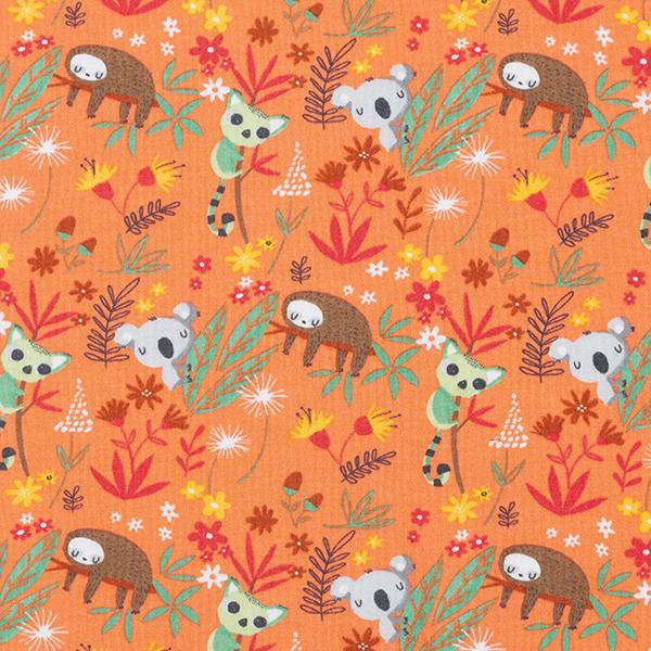 Sweatshirt angeraut GOTS schlafende Tiere – orange