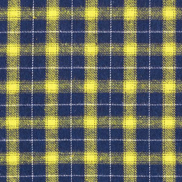 Baumwollflanell Schottenkaro – gelb/marineblau