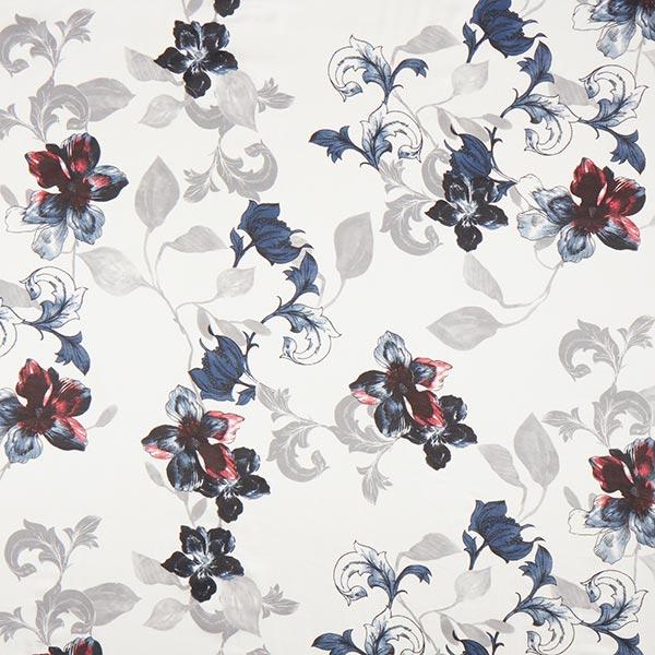 Tissu pour chemisier mélange coton-soie vrilles de fleurs – blanc/bleu