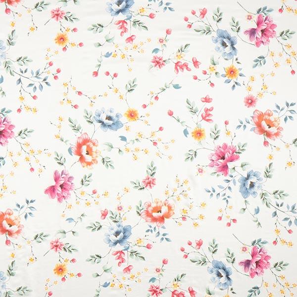 Tissu pour chemisier mélange coton-soie vrilles de fleurs – blanc/mélange de couleurs