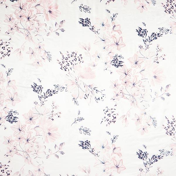 Tissu pour chemisier mélange coton-soie frangipanier – blanc