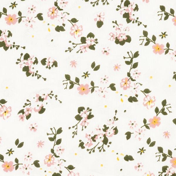 Tissu pour chemisier mélange coton-soie petites branches de fleurs – blanc