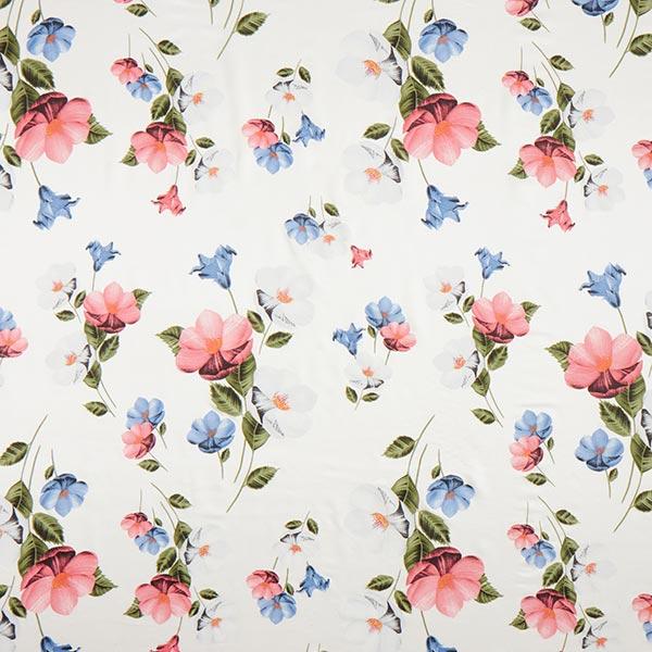 Tissu pour chemisier mélange coton-soie fleurs – blanc