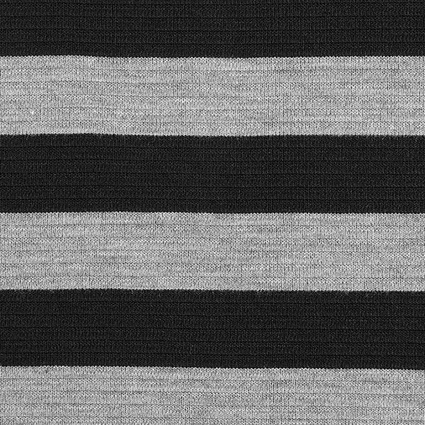 Rippenstrick Schurwoll-Mix Quer-Streifen – grau/schwarz