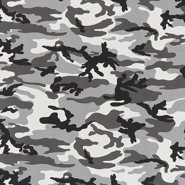French Terry Sweat d'été Camouflage grand – noir/gris