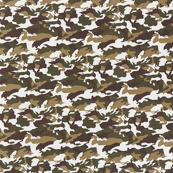 French Terry Sweat d'été Camouflage grand – kaki/marron