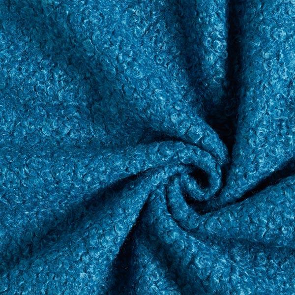 Tissu pour manteau Mélange de laine boucles – pétrole