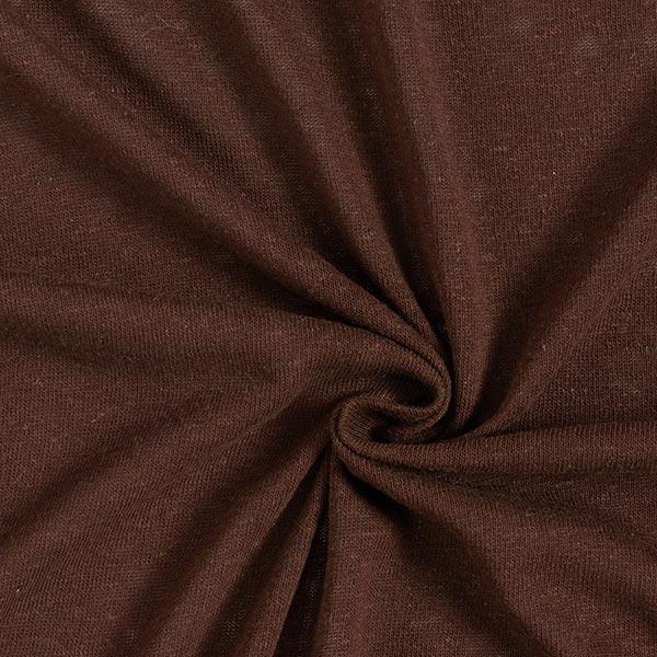 Jersey mélange lin-viscose uni – marron foncé