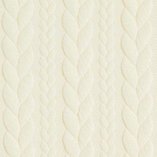 Jersey jacquard Cloqué Torsades – blanc