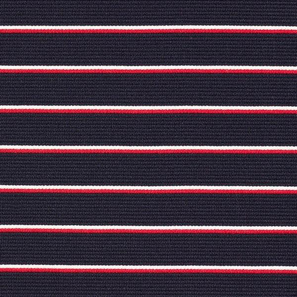 Jersey jacquard Marine Rayures fines – bleu marine/rouge