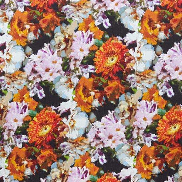 Tissu pour chemisier mélange lin-viscose fleurs somptueuses