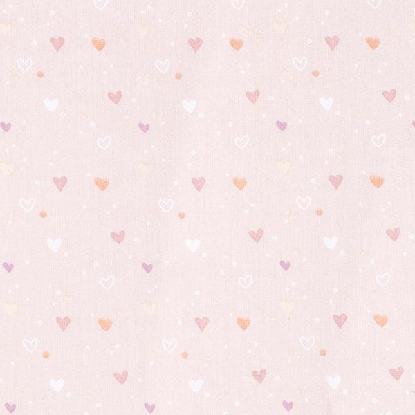Baumwollstoff Popeline kleine Herzen – hellrosa