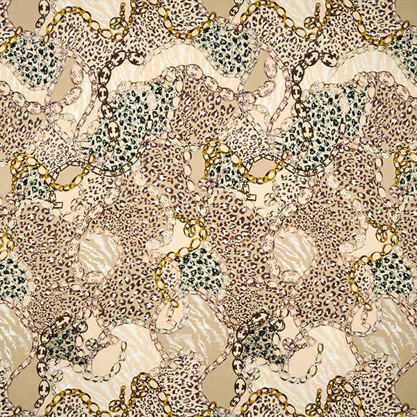Jersey viscose Chaines & motif léopard – beige