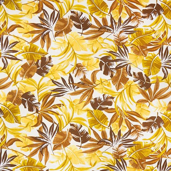 Viskose-Leinen-Mix tropische Blätter – weiss/gelb