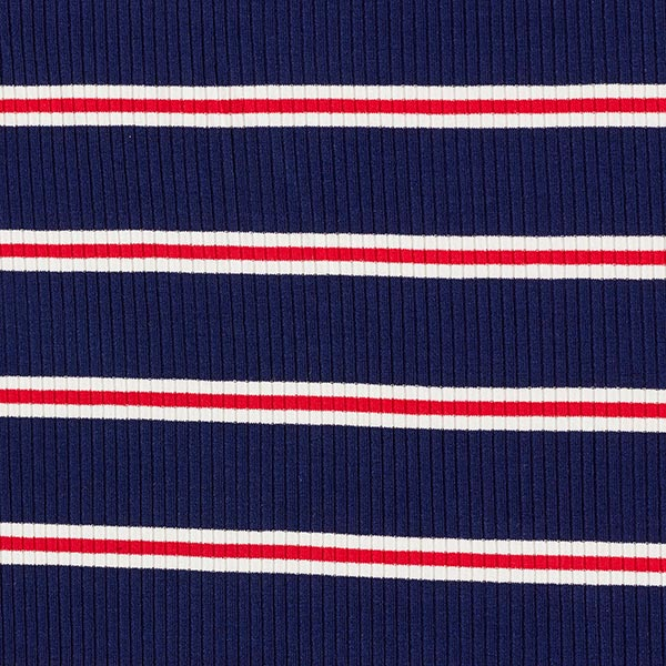 Rippenstrick Viskose Maritime Streifen breit – marineblau/rot
