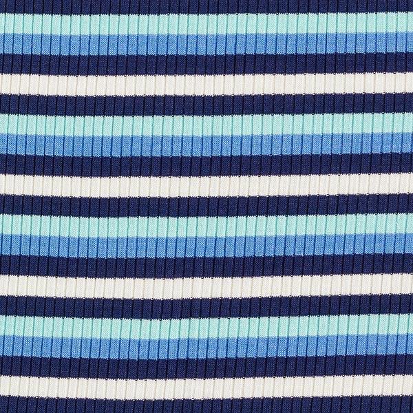 Rippenstrick Viskose Bunte Streifen – türkis/blau