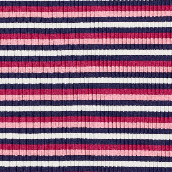 Rippenstrick Viskose Bunte Streifen – rosa/navy