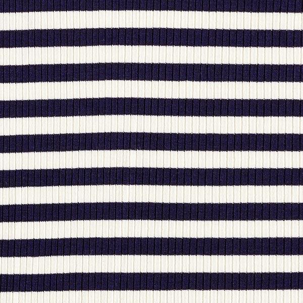 Rippenstrick Viskose-Mix Ringelstreifen breit – navy/weiss