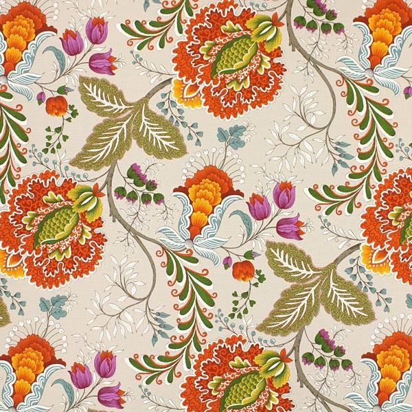 Deko- und Polsterstoff Blumenranken – terracotta