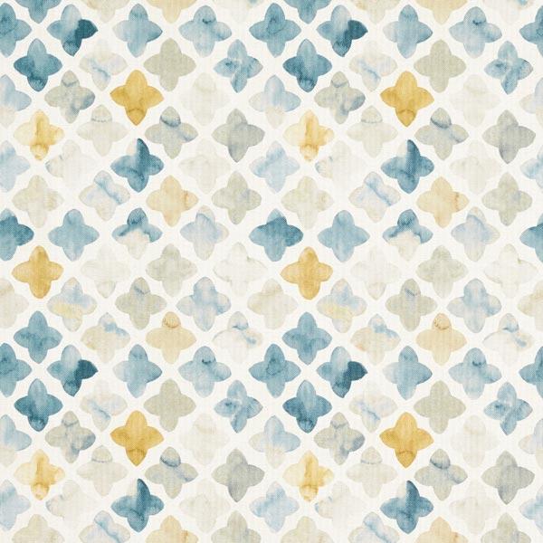Tissu de décoration Fleurs moderne – bleu/moutarde