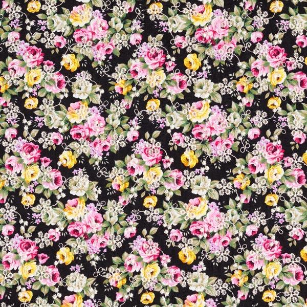 Popeline Broderie à trous Mille-fleurs – noir