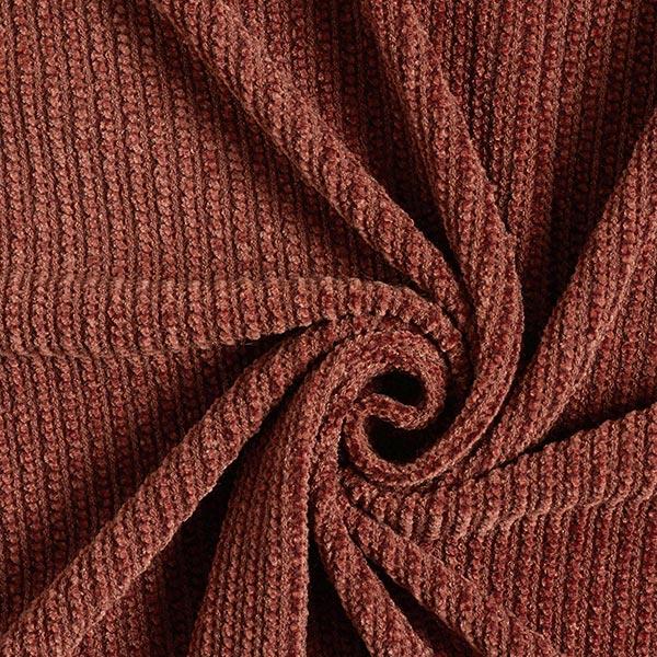 Tissu maille Chenille Structure côtelée – rouge rouille