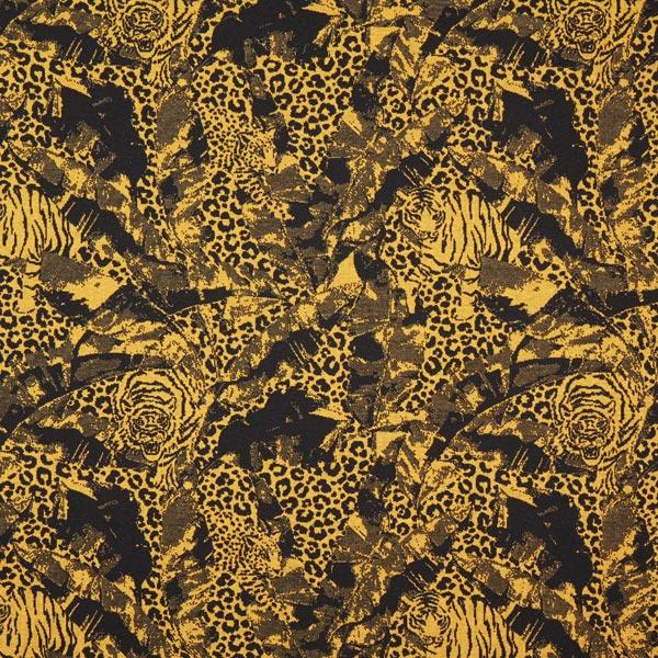 Jacquard Jersey Motif léopard – moutarde/noir