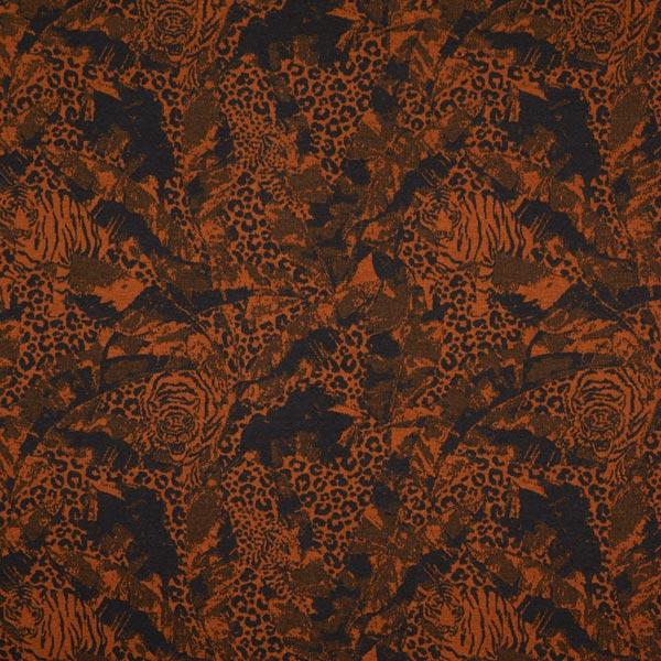 Jacquard Jersey Motif léopard – marron rouge/noir