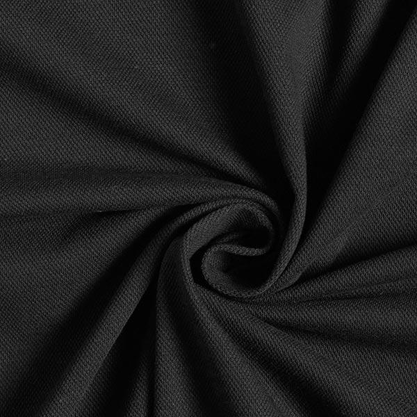 Baumwolljersey Piqué fein – schwarz