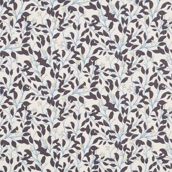 Popeline de coton rameaux & baies – écru