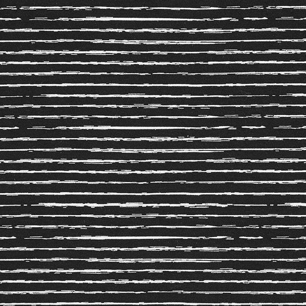 Baumwolljersey Skribbel-Streifen – schwarz