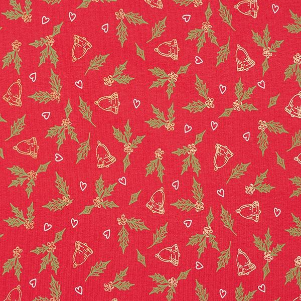 Jersey coton Branches de gui et cloches – rouge