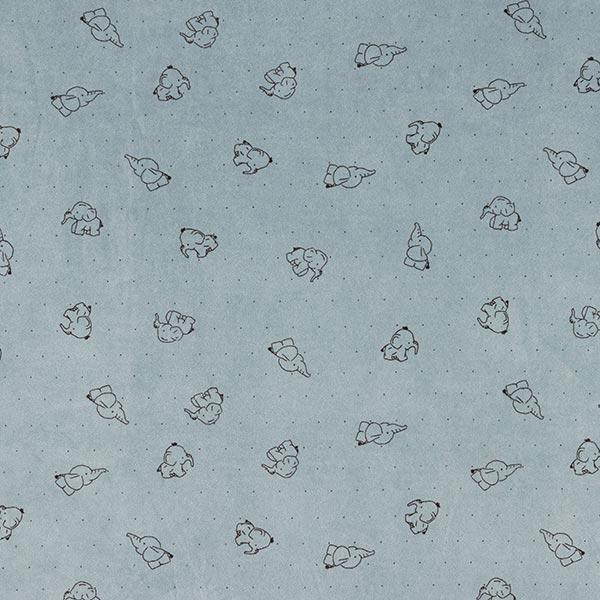 Tissu Nicki Bébés éléphants – gris bleu
