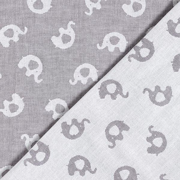 Double face Jacquard Tissu coton Éléphant – gris/blanc
