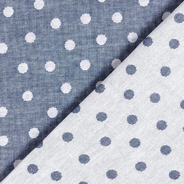 Doubleface Jacquard Baumwollgewebe Punkte – jeansblau/weiss
