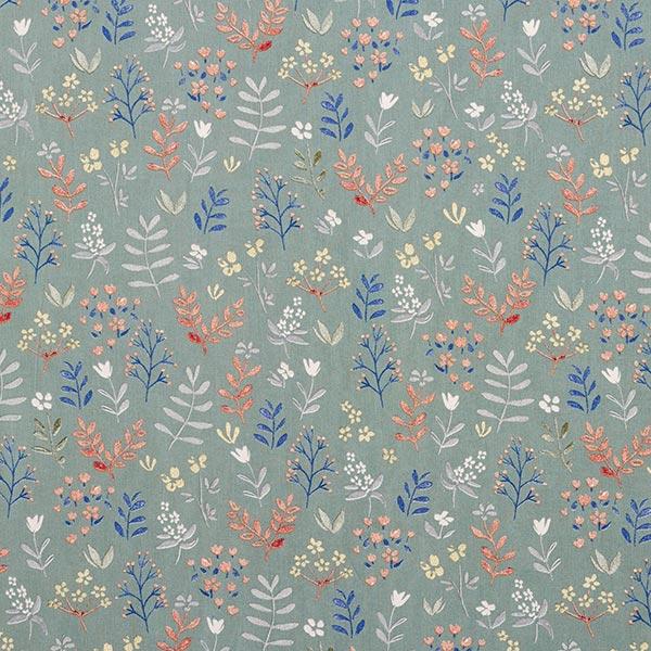 Popeline coton Aquarelle prairie fleurie – roseau