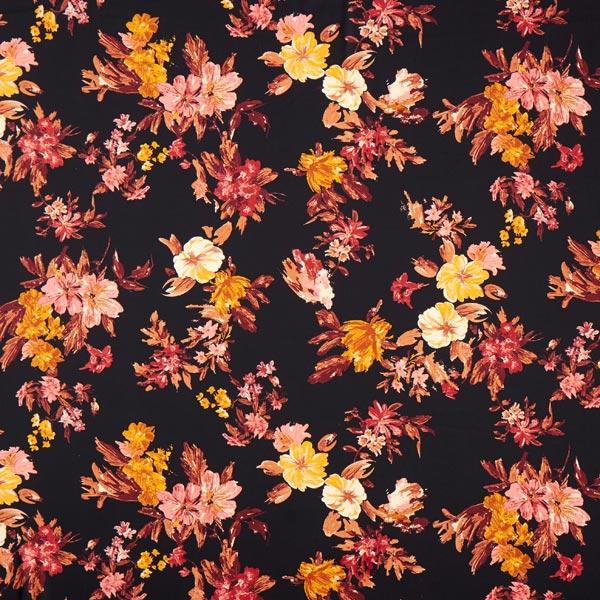Crêpe Georgette motif floral – noir/terre cuite