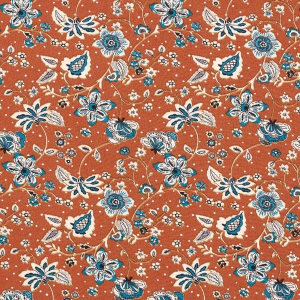 Viskosetwill Blumenranken – terracotta