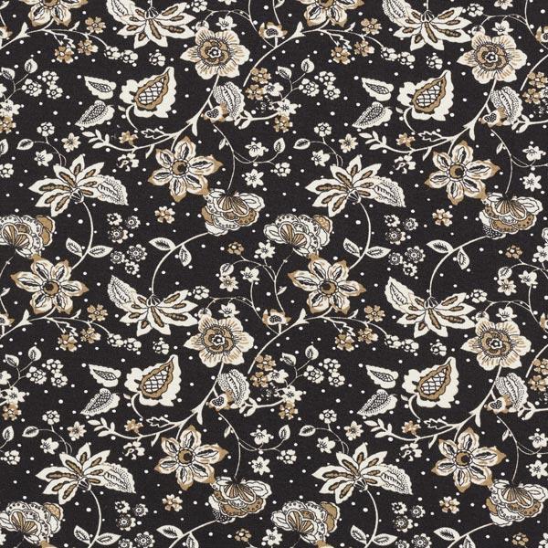 Sergé de viscose rinceaux de fleurs – noir