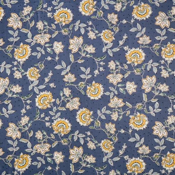 Chiffon ornements imprimé floqué floraux & points – bleu marine