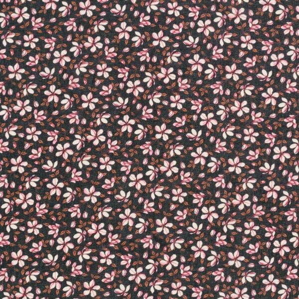 Chiffon fleurs magiques – noir/rose vif