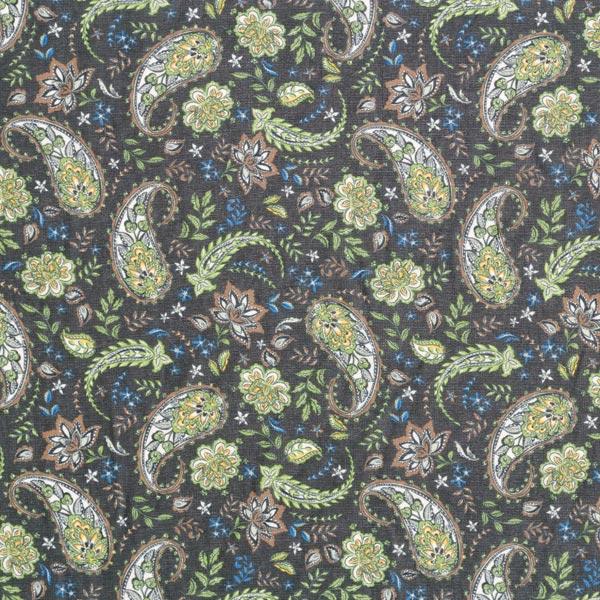 Chiffon fleurs paisley – noir/vert