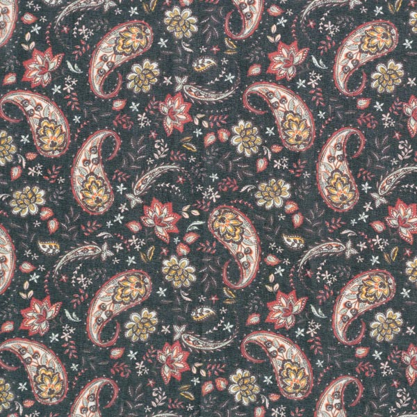 Chiffon fleurs paisley – noir/rouge