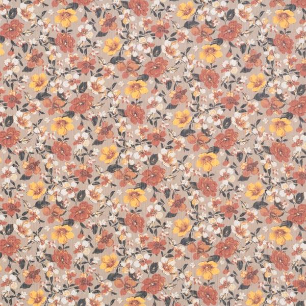 Crêpe chiffon fleurs automnales – beige