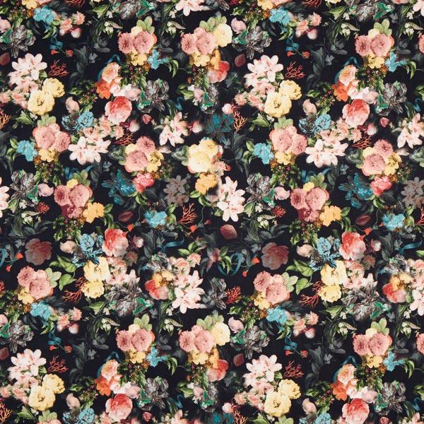 Tissu pour robes et chemisiers roses sauvages – noir