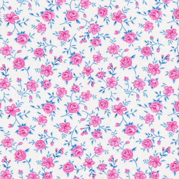 Tissu pour chemisier Roses – blanc/rose vif