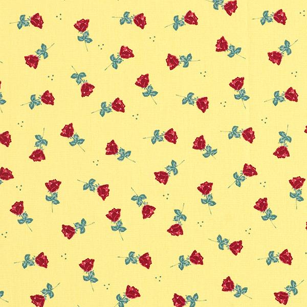 Popeline coton Roses – jaune/rouge