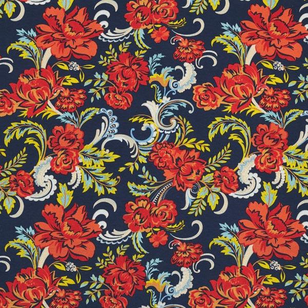Viskosejersey florales Paisley-Muster – marineblau